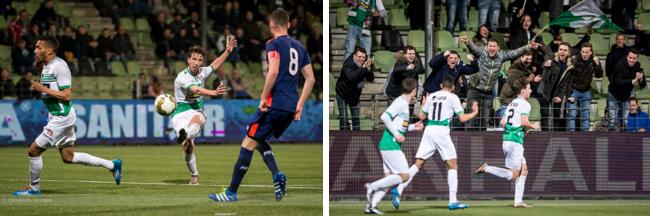 Glenn Bijl haalt doeltreffend uit en kan zijn goal vieren... (foto's: FC Dordrecht / Erwin Spek)